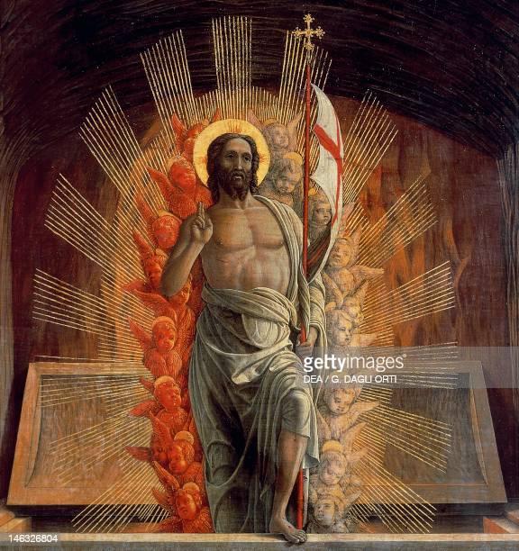 Tours Musée Des BeauxArts The resurrection 14571459 by Andrea Mantegna tempera on wood 70x92 cm Detail depicting Christ