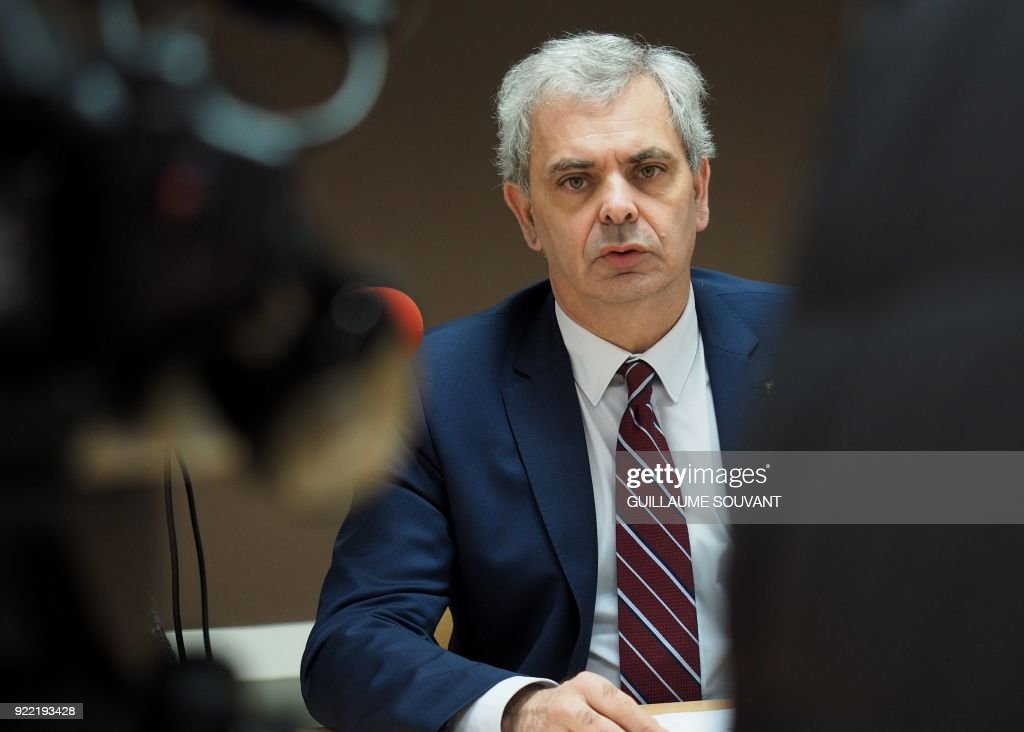 Tours's Mayor Christophe Bouchet gives a press conference concerning the indictment of the choirmaster of the Conservatory of Tours charged with raping minors under 16 in Tours, centre-west France, on February 21, 2018. - The choirmaster of the Conservatory of Music Tours was put under investigation and in prison on February 19, 2018 for rape and sexual assault on minors by an authority person, according to the prosecutor in Tours on February 21.