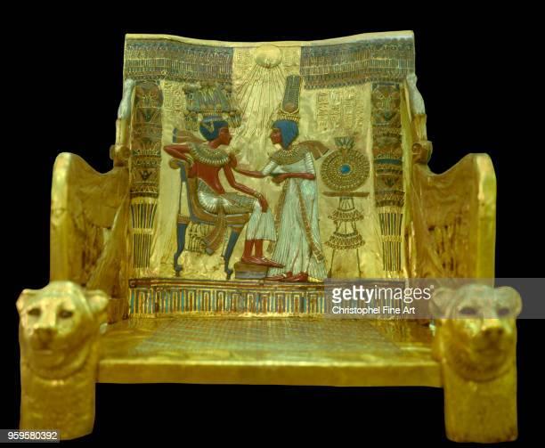 Toutankhamon throne and his wife folder 18th Dynasty, Egyptian Art, Egyptian Museum, Cairo, Egypt.