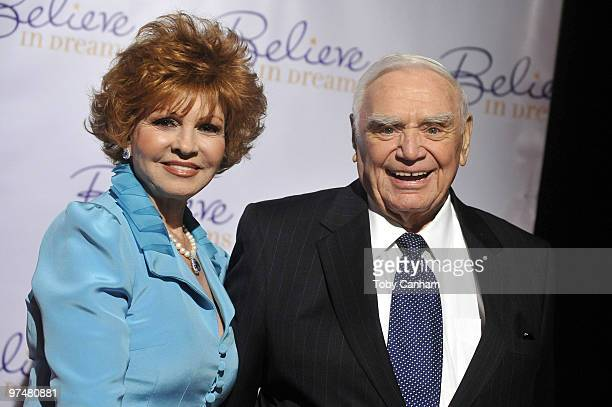 Tova and Ernest Borgnine pose for a picture at the Ernest Borgnine PreOscar party at Universal Studios Hollywood on March 5 2010 in Universal City...