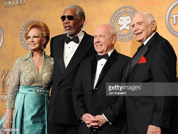 Tova Borgnine and actors Morgan Freeman, Tim Conway and Life Achievement Award recipient Ernest Borgnine pose at the 17th Annual Screen Actors Guild...