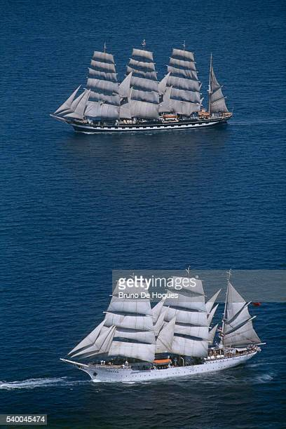 """""""Tovarishch"""" is a three-mast barque. Originally a German ship named """"Gorch Fock"""" , the three-mast barque was rescued after WWII by the USSR and..."""