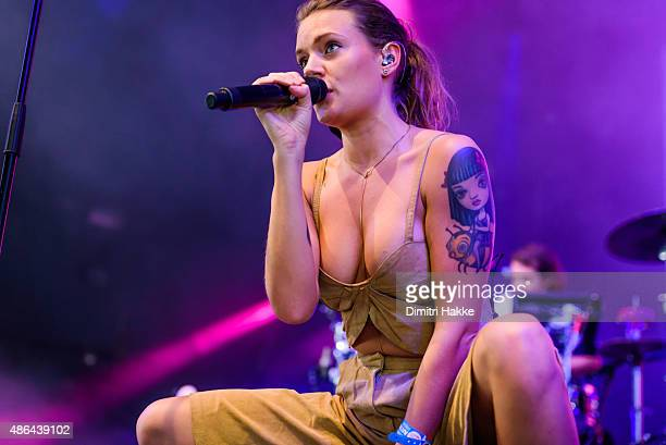 Tove Lo performs on stage at Lowlands Festival at Evenemententerrein Walibi World on August 21 2015 in Biddinghuizen Netherlands