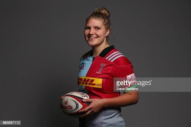 Tove Viksten poses for a portrait during the Harlequins Ladies Squad Photo call for the 2017/18 Tyrrells Premier 15s Season at Surrey Sports Park on...