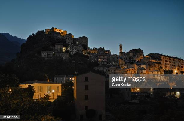 Tow on hill at dusk, Corte, Corsica, France