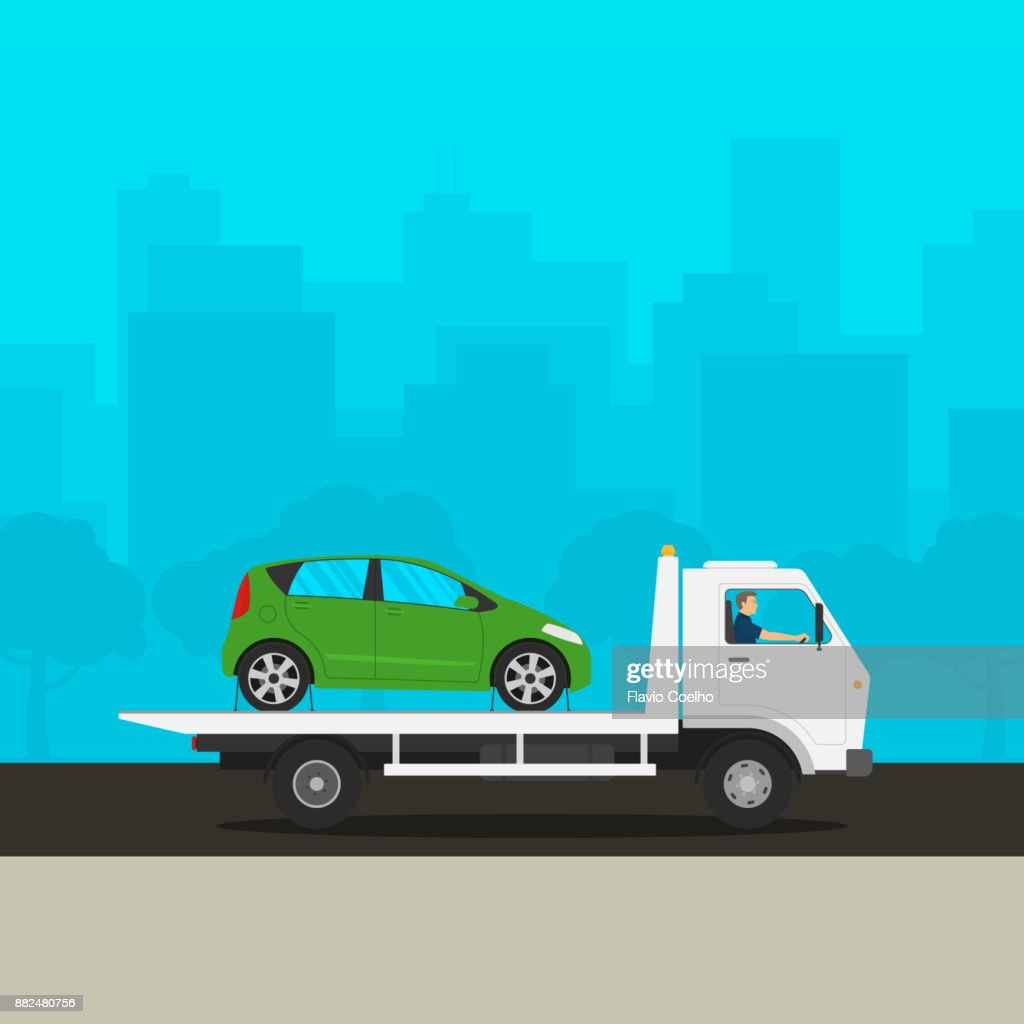 Tow truck towing broken down car illustration : Stock Photo