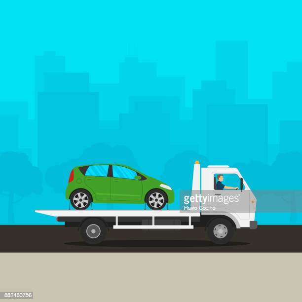Tow truck towing broken down car illustration