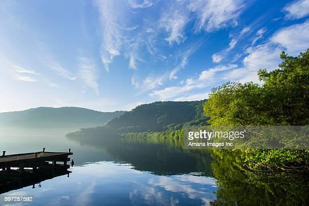 towada lake at dawn - aomori prefecture stock pictures, royalty-free photos & images