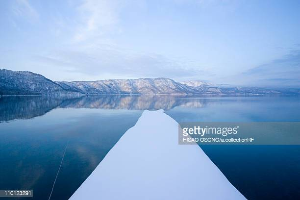 towada lake in winter - aomori prefecture stock pictures, royalty-free photos & images