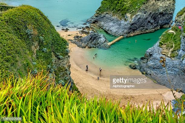 towan rock, newquay, england - newquay stock pictures, royalty-free photos & images