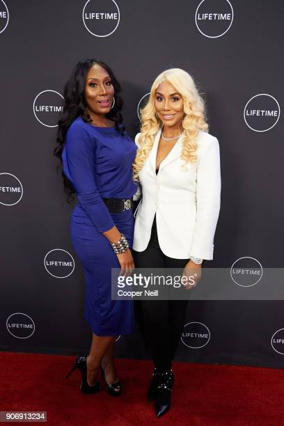 """Towanda Braxton and Tamar Braxton pose for a photo during the premiere of """"Faith Under Fire: The Antoinette Tuff Story"""" at the Potter's House on..."""