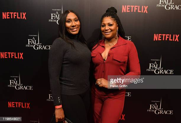 "Towanda Braxton and Trina Braxton attend Tyler Perry's ""A Fall From Grace"" VIP Screening at SCAD Show on January 09, 2020 in Atlanta, Georgia."
