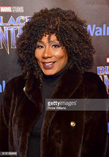 "Towanda Braxton attends ""Black Panther"" Advance Screening at Regal Hollywood on February 13, 2018 in Chamblee, Georgia."