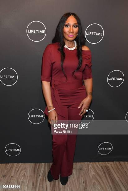 "Towanda Braxton attends ""Faith Under Fire: The Antoinette Tuff Story"" red carpet screening at Woodruff Arts Center on January 20, 2018 in Atlanta,..."