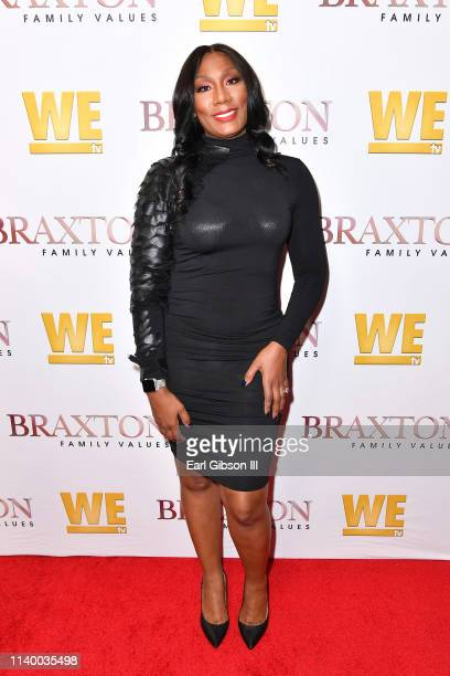 "Towanda Braxton is seen as We TV celebrates the premiere of ""Braxton Family Values"" at Doheny Room on April 02, 2019 in West Hollywood, California."