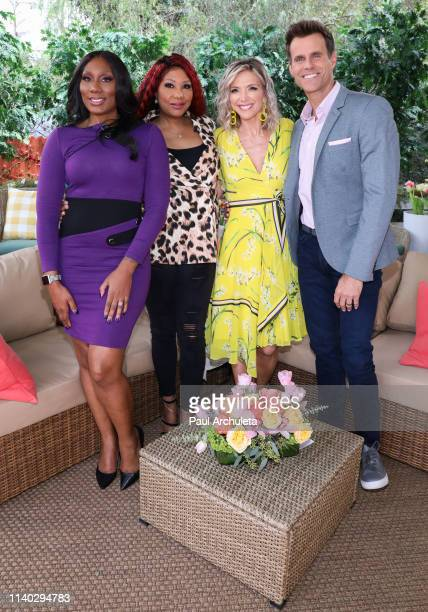 "Towanda Braxton, Traci Braxton, Debbie Matenopoulos and Cameron Mathison on the set of Hallmark's ""Home & Family"" at Universal Studios Hollywood on..."