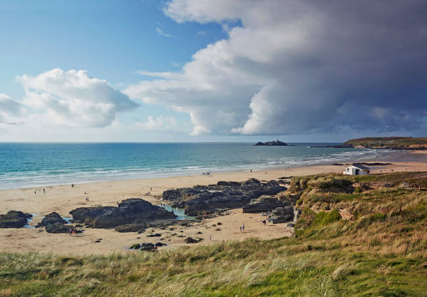 Towans beach in West Cornwall and Godrevy lighthouse