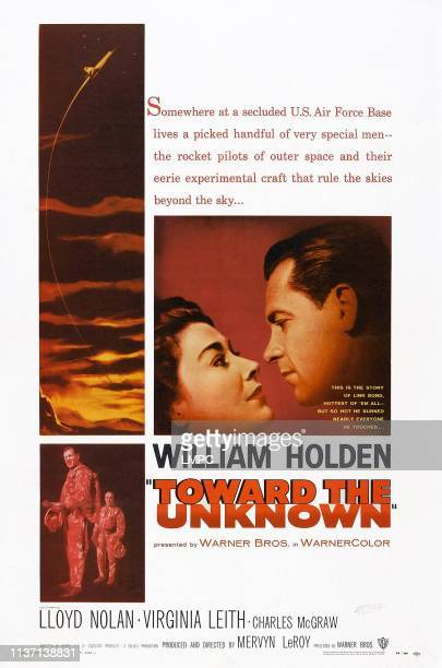 Toward The Unknown poster US poster center from left Virginia Leith William Holden bottom from left William Holden Lloyd Nolan 1956