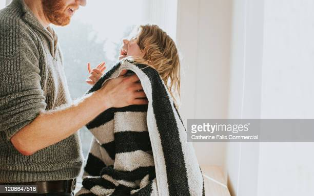 towel drying daughter - wrapped in a towel stock pictures, royalty-free photos & images
