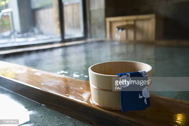 Towel on a wooden tub, hot spring, high angle view, Japan