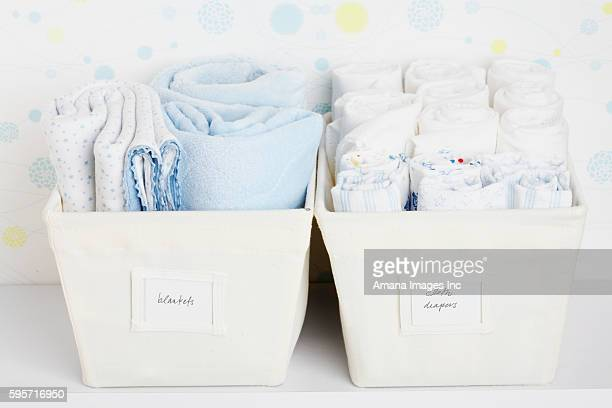 Towels and Cloth Diapers in Baskets