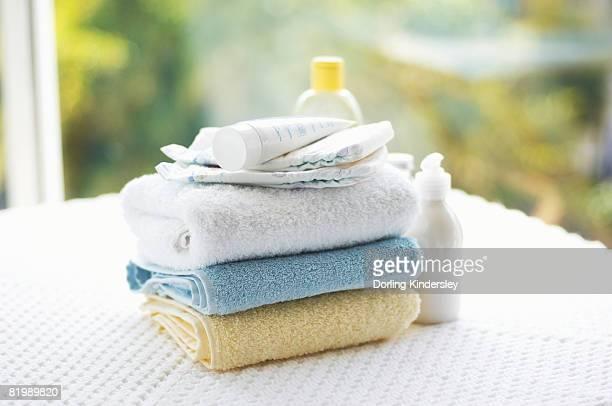 Towels and creams, close up