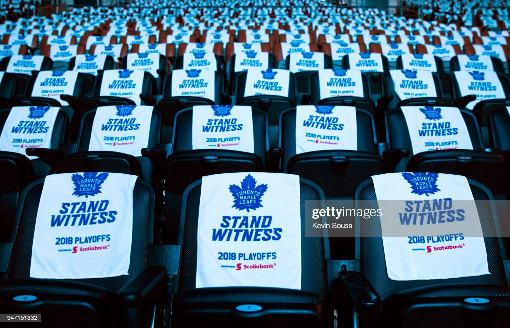 Towels drape seats before Game Three of the Eastern Conference First Round during the 2018 NHL Stanley Cup Playoffs at the Air Canada Centre on April 16, 2018 in Toronto, Ontario, Canada.