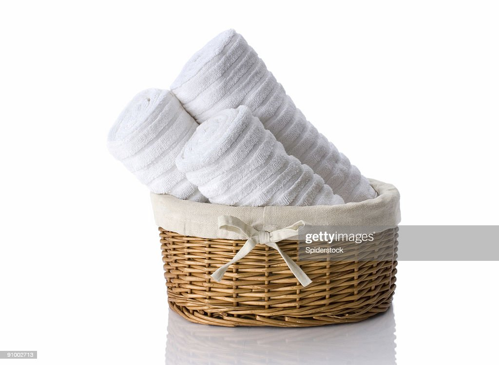 Towels In  Basket : Stock Photo