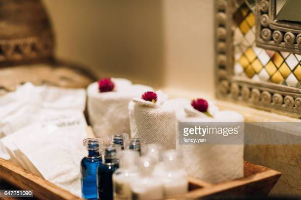 towels in hotel - grooming product stock photos and pictures