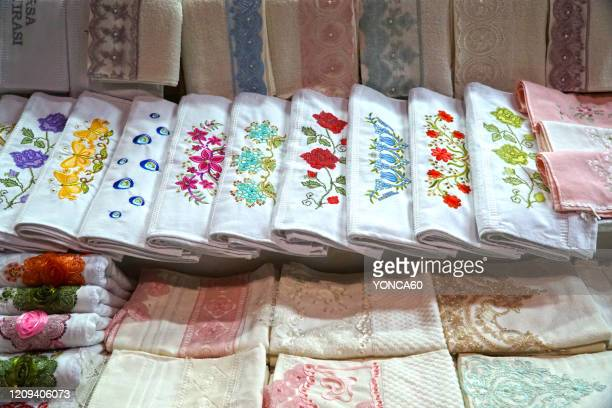towels of bursa - 刺繍 ストックフォトと画像