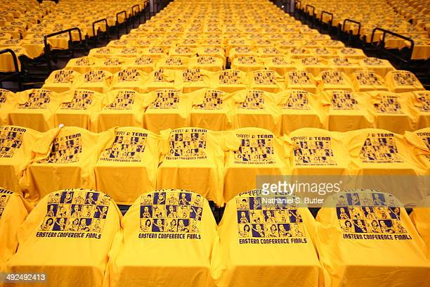Towels of the Indiana Pacers on display before a game against the Miami Heat in Game Two of the Eastern Conference Finals during the 2014 NBA...