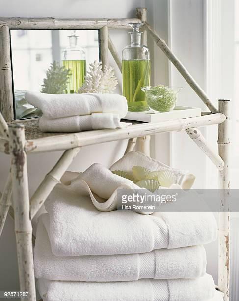 Towels on bamboo shelf