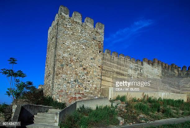 Tower along the walls of the Alcazaba of Badajoz Extremadura Spain