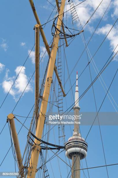 Tower amid sail ship ropes View from the popular waterfront or harbourfront area which is a tourist attraction in the Canadian city