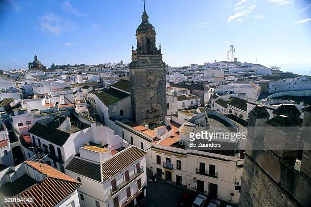 tower and rooftops in carmona, spain - carmona fotografías e imágenes de stock