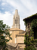 Tower and surroundings of the cathedral of Girona, Catalonia, Spain