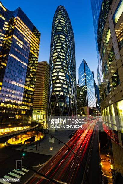 D2 tower and traffic at blue hour, Financial district of La Défense, Paris, France