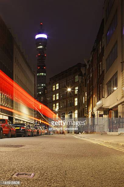 BT Tower and traffic light trails