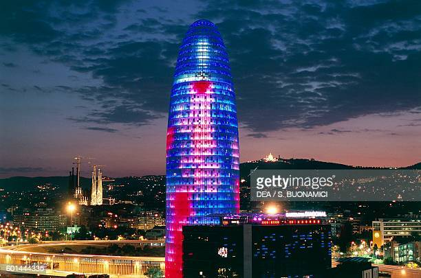 Tower architect Jean Nouvel by night Barcelona Catalonia Spain 20th century