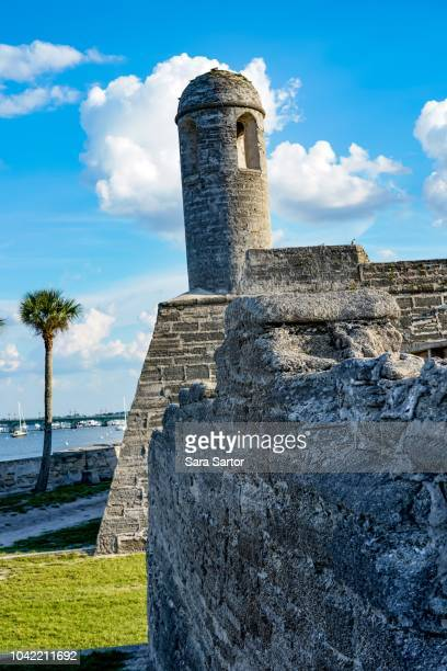 tower at castillo de san marcos in st augustine, florida - castillo de san marcos stock photos and pictures