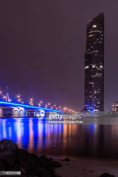 d1 tower at jaddaf waterfront, dubai - luogo d'interesse locale foto e immagini stock