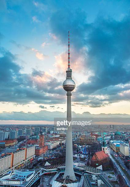 fernsehturm - berlin tv tower - berlin stock pictures, royalty-free photos & images