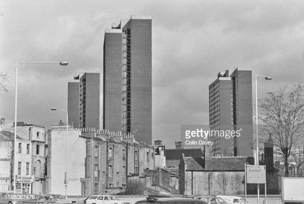 Tower block housing, The Edward Woods Estate, near the West Cross Route in Hammersmith, London, UK, 14th March 1977.