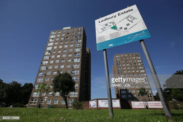 A tower block is pictured on Ledbury estate in Peckham southeast London on August 11 2017 Residents of the Ledbury estate in Peckham southeast London...