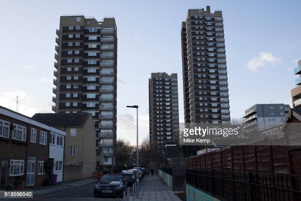 Tower blocks of a housing estate in Shadwell East London United Kingdom Council estates like this are very common all over Tower Hamlets which is the...
