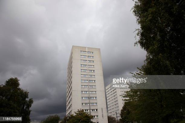 Tower blocks of flats of the Civic Centre Estate in central Birmingham United Kingdom The Civic Centre is a collection of four tower blocks in...