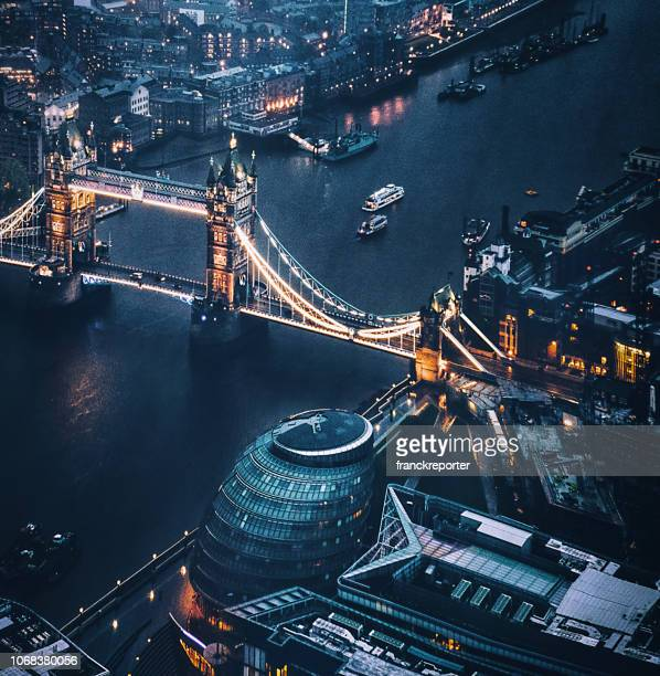 tower bridge aerial view at night - london england stock pictures, royalty-free photos & images