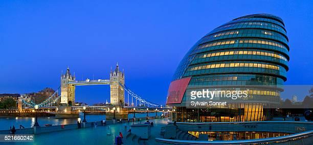 Tower Bridge and City Hall at night, London, England