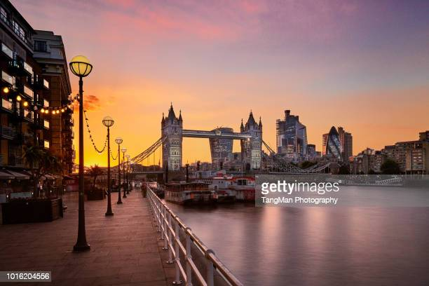 Tower Bridge and City of London at Sunset