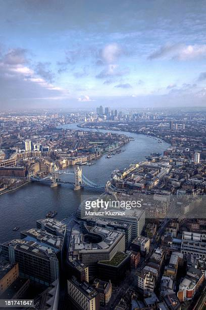 tower bridge and docklands view from shard - london bridge stock photos and pictures